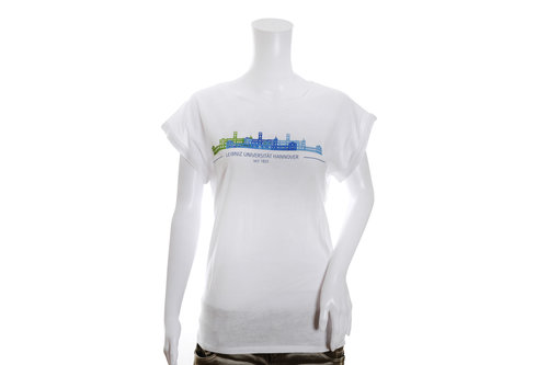White lady t-shirt with a castle motif from the University of Hanover